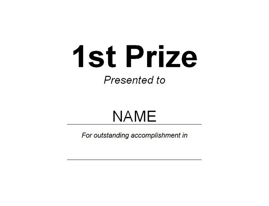 1st Prize Award Clip Art U0026 Wording  First Place Award Template
