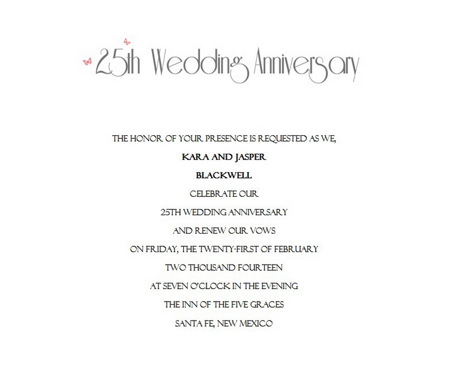 25th wedding anniversary invitations 10 wording free geographics .