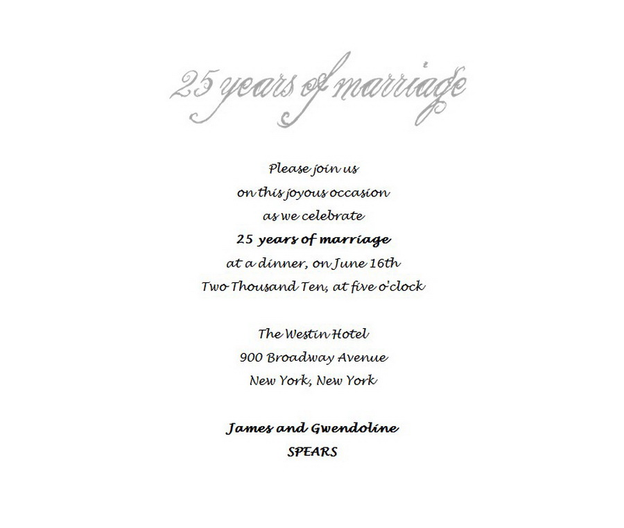 25th Wedding Anniversary Invitations 4 Wording Free Geographics