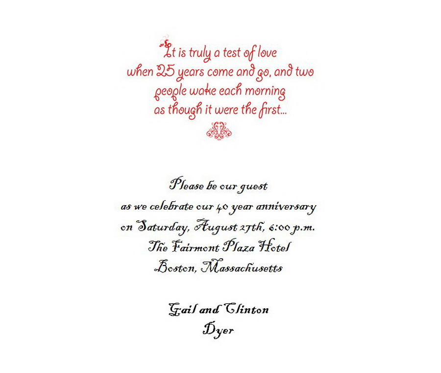 25th wedding anniversary invitations 5 wording free geographics .
