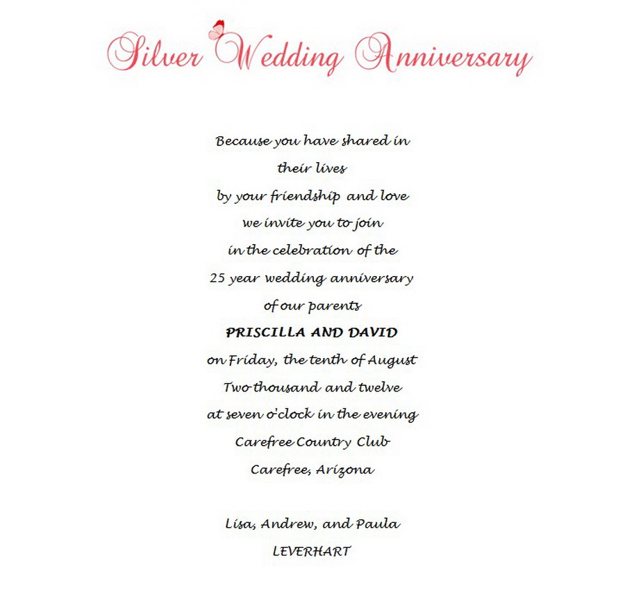Wedding Free Suggested Wording by Theme – 25th Anniversary Party Invitations