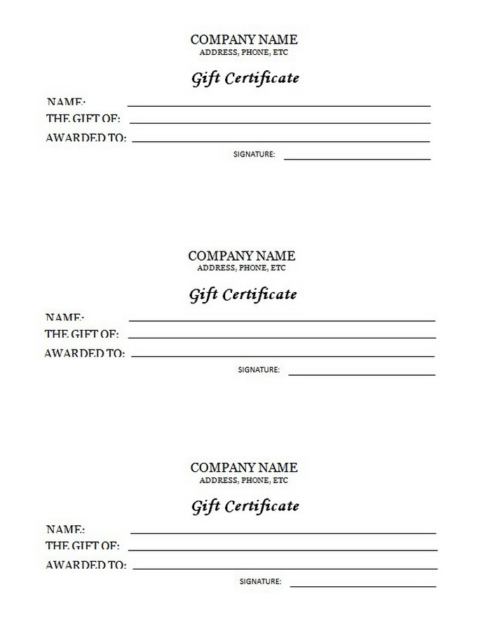 3 UP Gift Certificate Clip Art 2 U0026 Wording