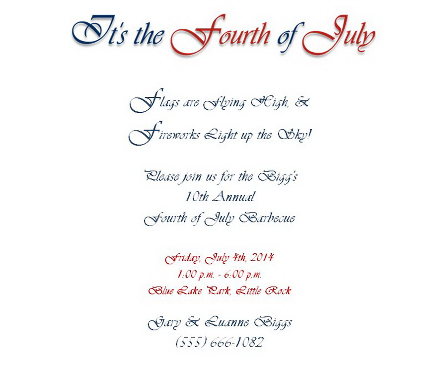 4th of July Party Invitations 1 Wording | Free Geographics Word ...