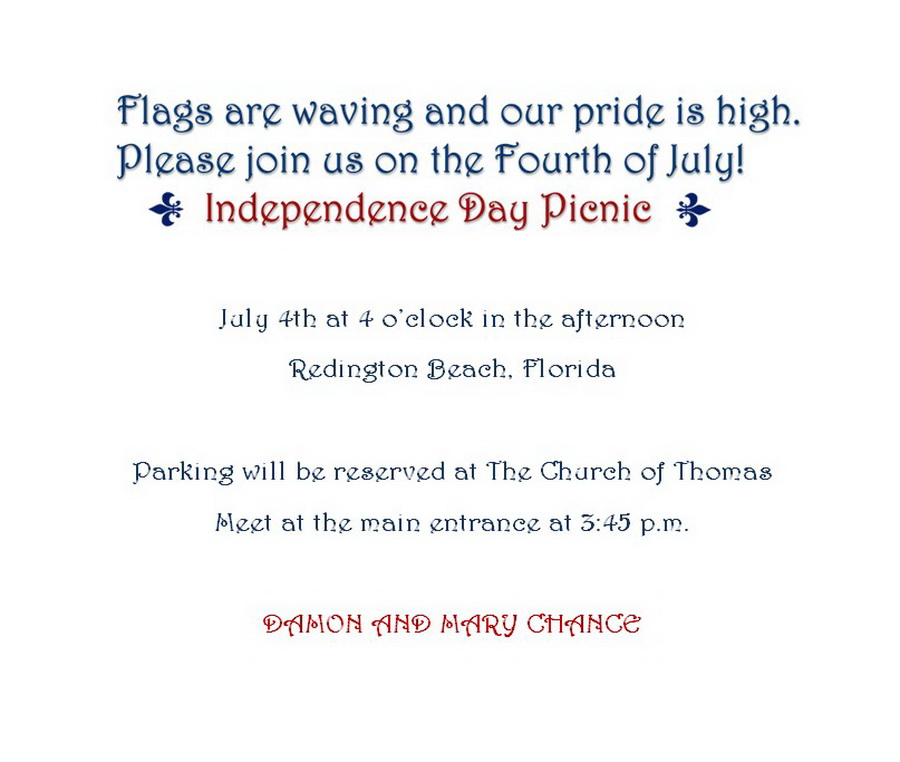 4th Of July Party Invitations 3 Wording Free Geographics Word