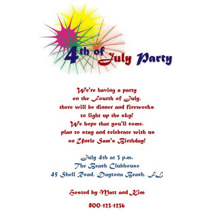 4th Of July Party Invitations Wording 5