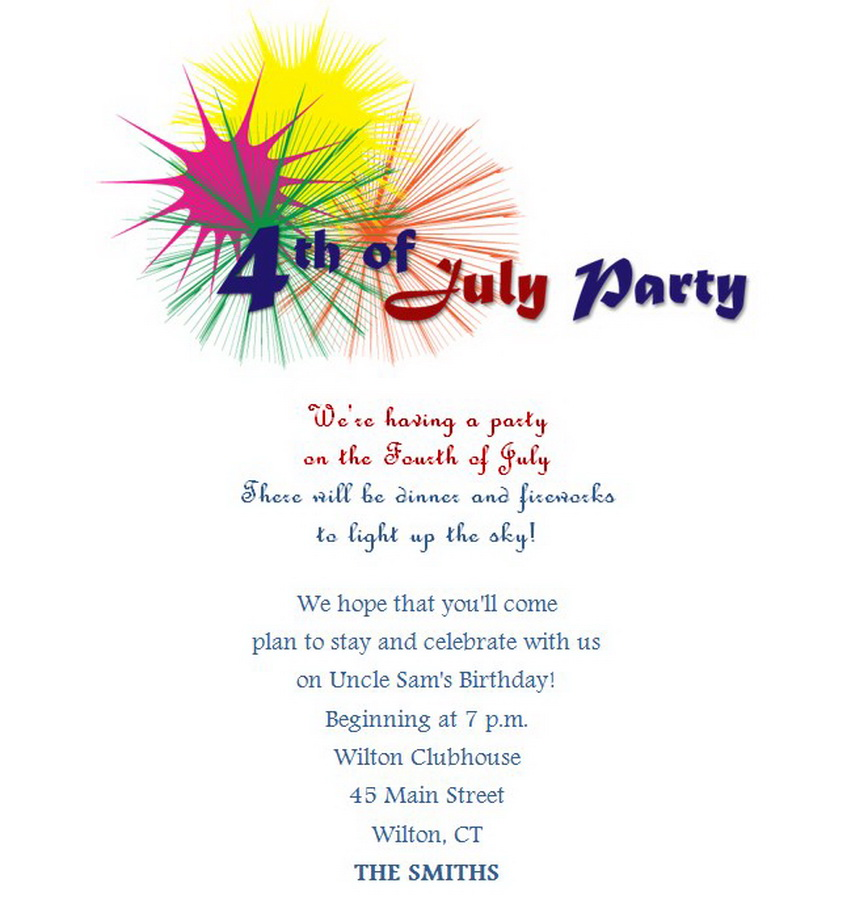 4th Of July Party Invitations Wording 7