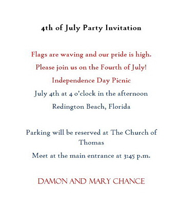 4th Of July Party Invitations Wording