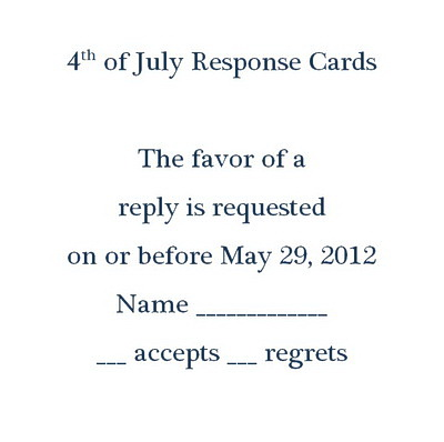 4th of July Response Cards RSVP Wording – Rsvp Wording Template