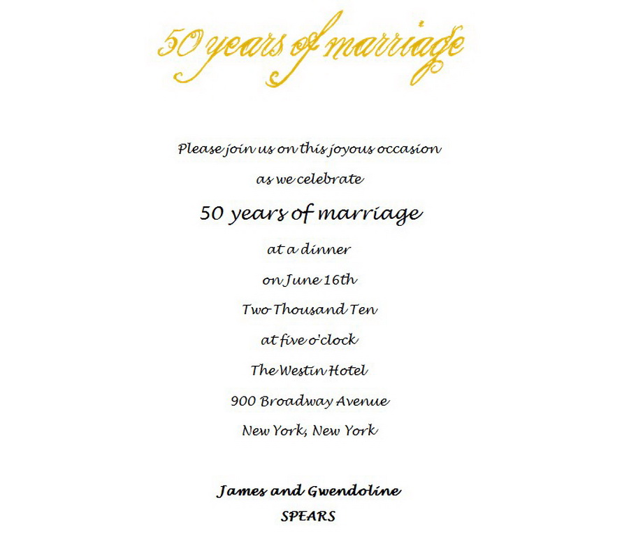 50th Wedding Anniversary Invitations 4 Wording