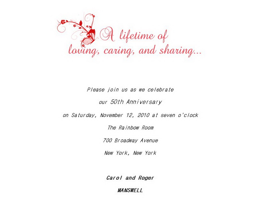 50th Wedding Anniversary Invitations 5 Wording Free Geographics