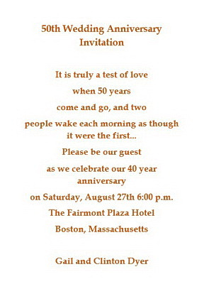 50th Wedding Anniversary Invitations Wording