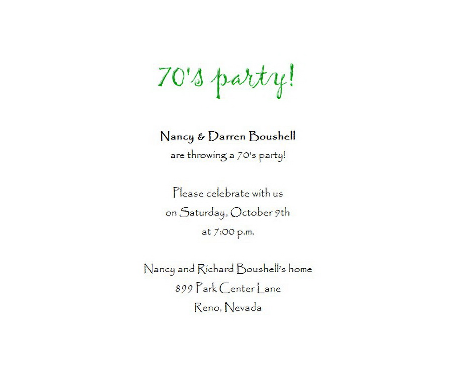 70s Party Invitation 1 Wording Free Geographics Word Templates