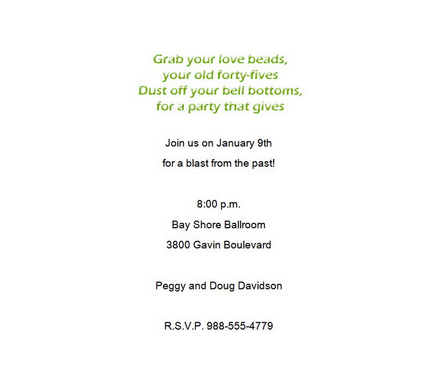 70\'s Party Invitation 2 Wording | Free Geographics Word Templates