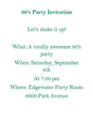 80s Party Invitations Wording