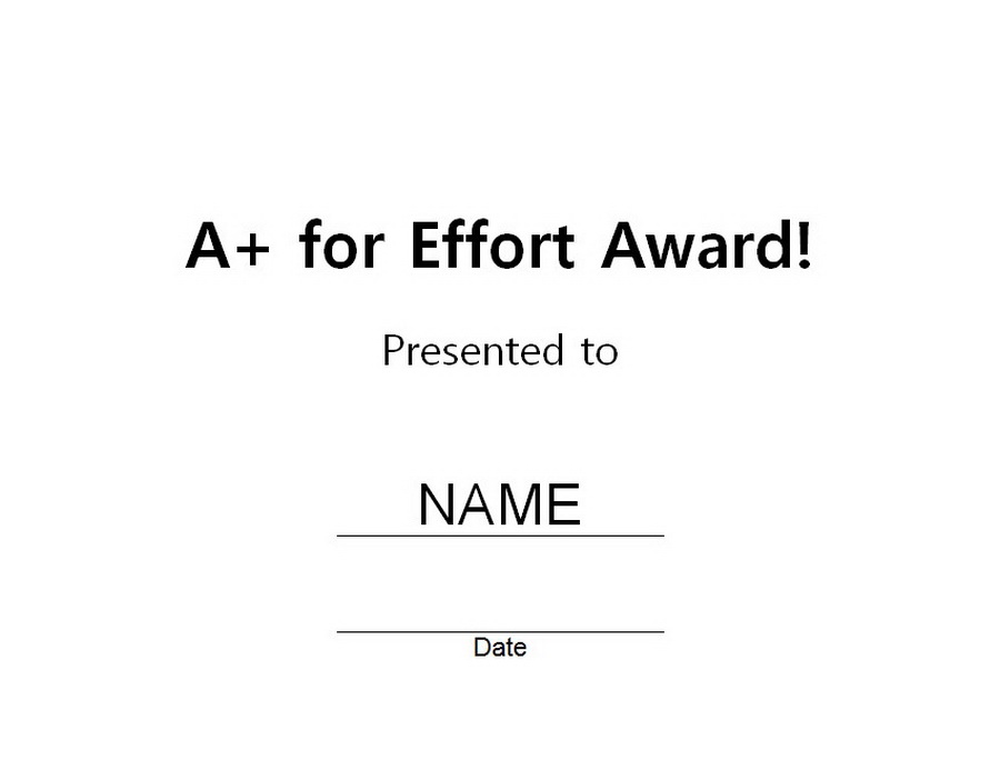A plus for effort award 1 free word templates customizable wording a plus for effort award clip art 1 wording yelopaper Gallery
