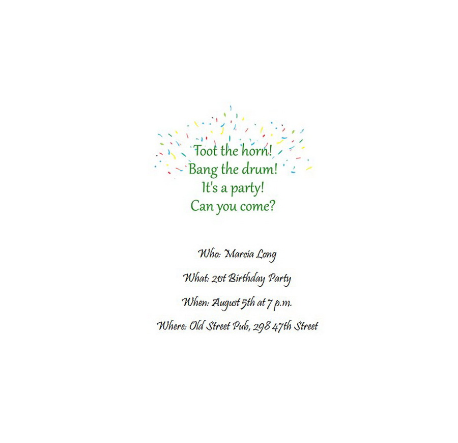 Adults 21st Birthday Invitation Wording 2