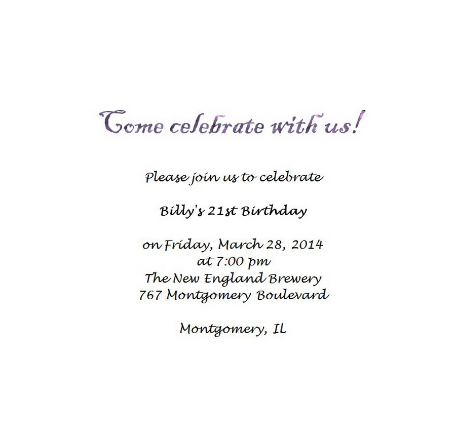 Adults 21st Birthday Invitation Wording 4