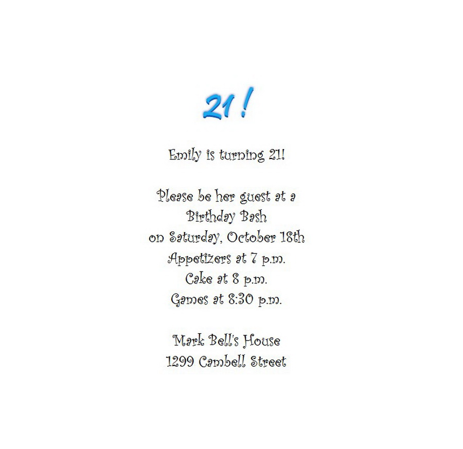 Adult\'s 21st Birthday Invitation 5 Wording | Free Geographics Word ...