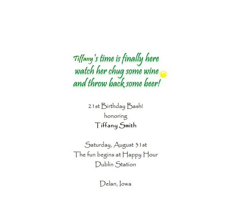 Adults 21st Birthday Invitation Wording 7