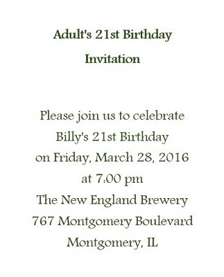 Adults 21st Birthday Invitation Wording