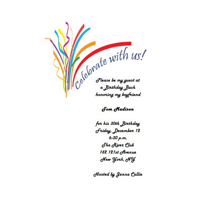 Adult\'s 30th Birthday Invitation 4 Wording | Free Geographics Word ...