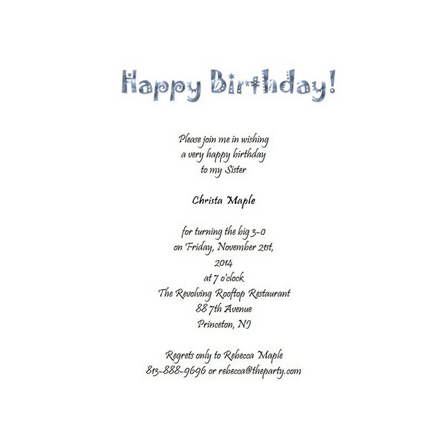 Adult S 30th Birthday Invitation 6 Wording Free Geographics Word