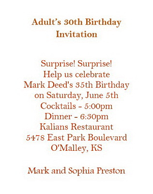 Adult S 30th Birthday Invitation Wording Free Geographics Word