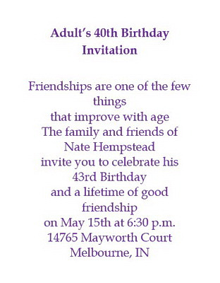 Adults 40th Birthday Invitation Wording