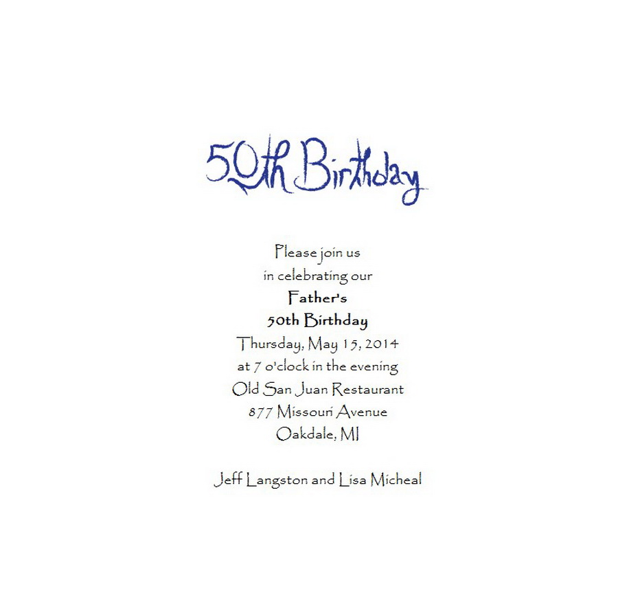 Adult\'s 50th Birthday Invitation 5 Wording | Free Geographics Word ...