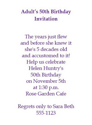 Adults 50th Birthday Invitation Wording