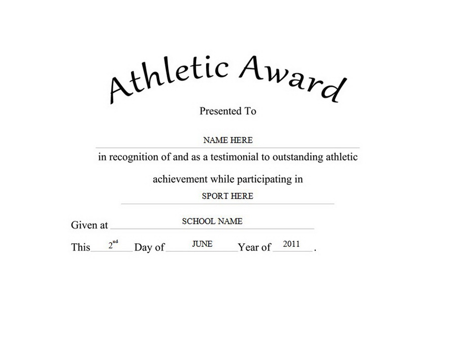 athletic certificate template - athletic award free templates clip art wording geographics