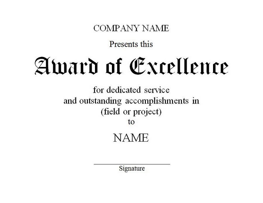 award of excellence template  Award of Excellence 2 | Free Word Templates Customizable Wording