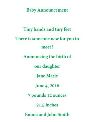 baby announcements wording