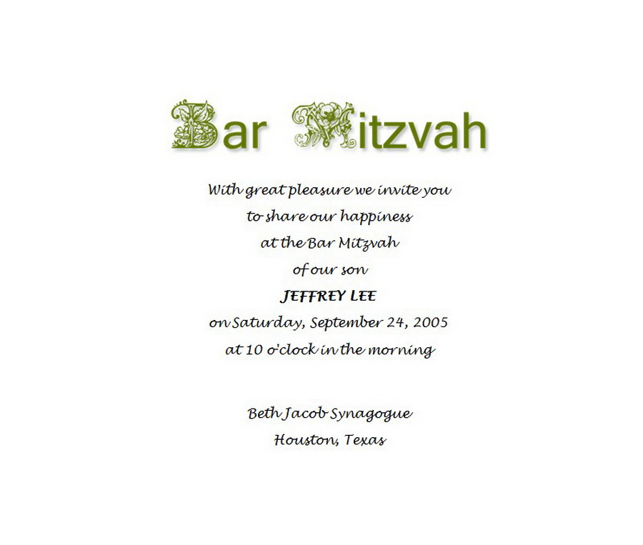 Bar Mitzvah | Free Suggested Wording by Theme | Geographics