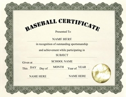 baseball certificate clip art wording