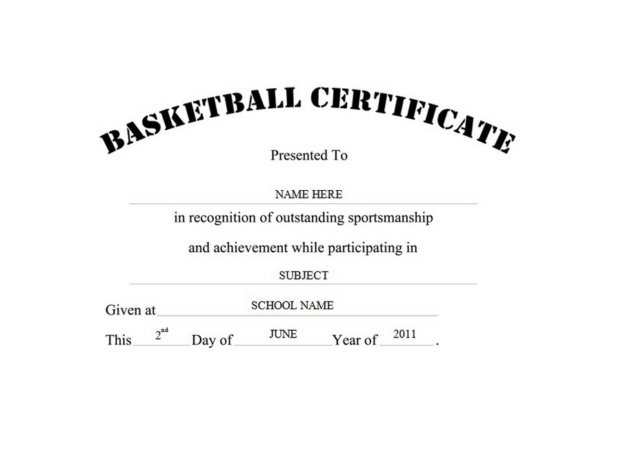 Basketball Certificate Free Templates Clip Art  Wording  Geographics