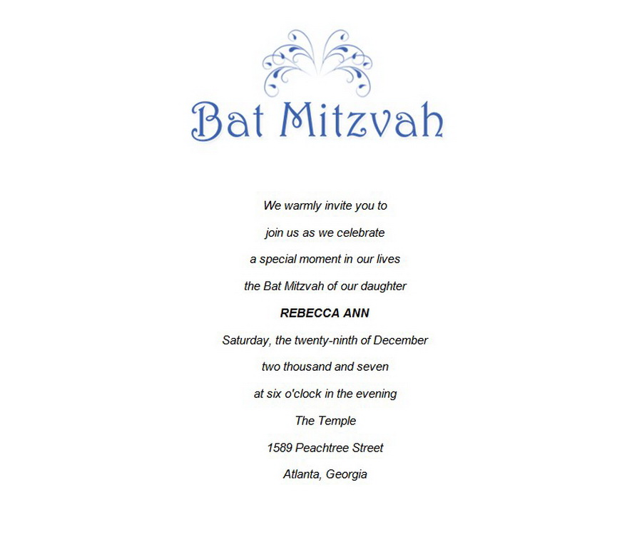 Bat Mitzvah | Free Suggested Wording by Theme | Geographics