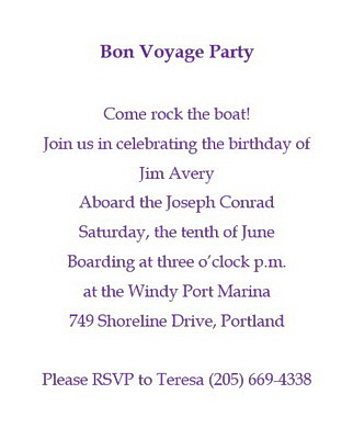 Bon Voyage Invitations Wording | Free Geographics Word Templates