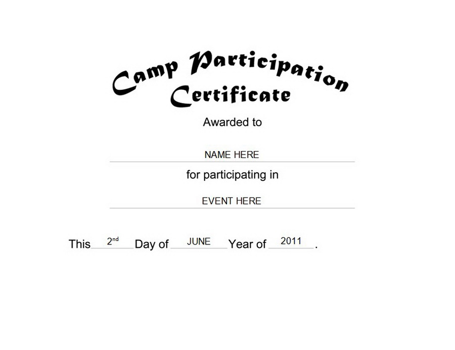 Doc400309 Certificate of Participation Free Template – Certificate of Participation Format