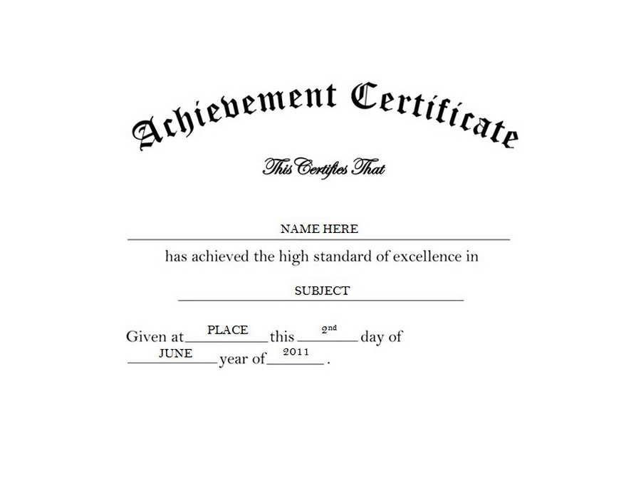 certificate of achievement free templates clip art wording