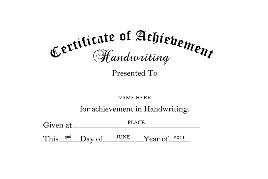 Certificate Of Achievement Handwriting Free Templates Clip Art Wording