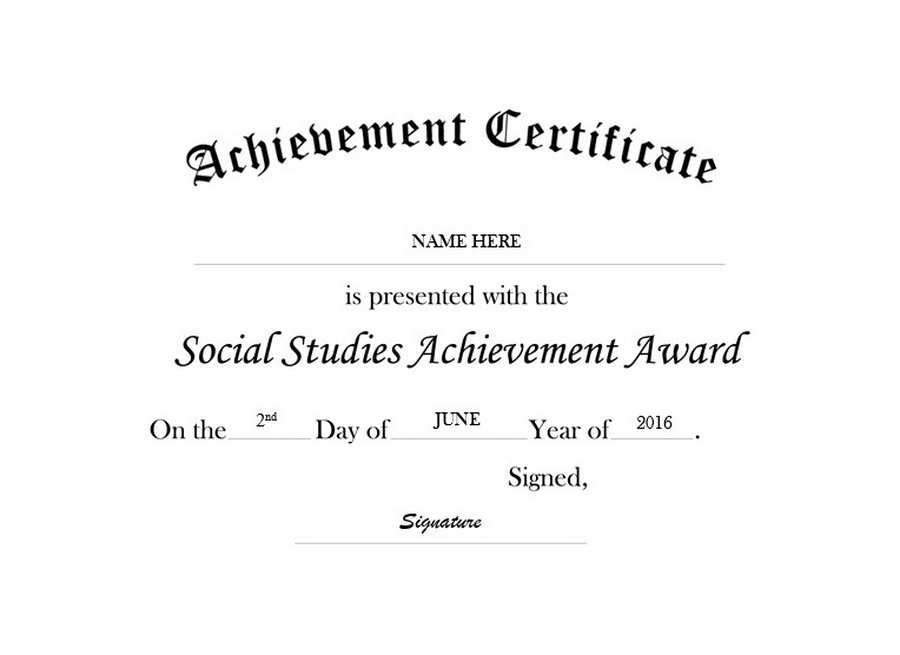 certificate of achievement template free - certificate of achievement in social studies free