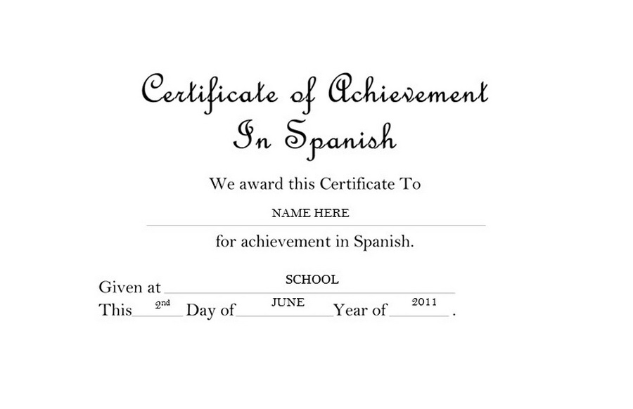 certificate of achievement in spanish free templates clip art wording