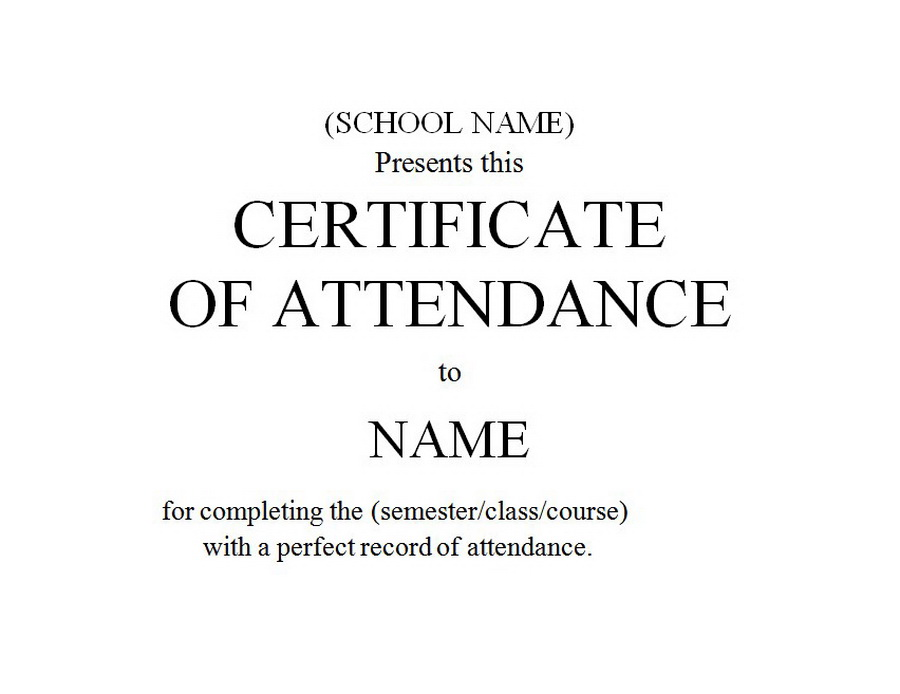 Certificate of attendance 1 free word templates customizable wording certificate of attendance clip art 1 wording yadclub Images