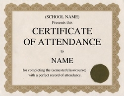 Certificate Of Attendance Clip Art 1 U0026 Wording  Free Templates For Certificates Of Completion