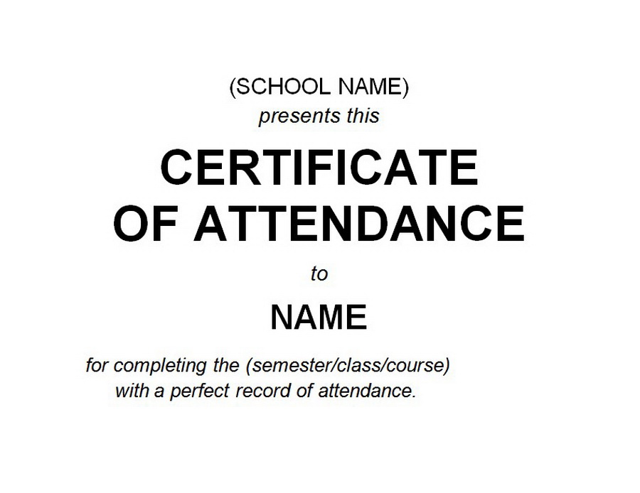 Certificate Of Attendance 2 Free Word Templates Customizable Wording