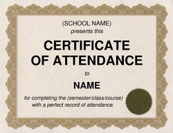Certificate Of Attendance Sample Template. Printable Certificate Template  46 Adobe ...  Blank Certificate Of Attendance