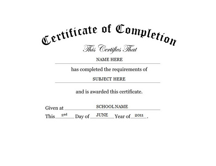 free templates for certificates of completion