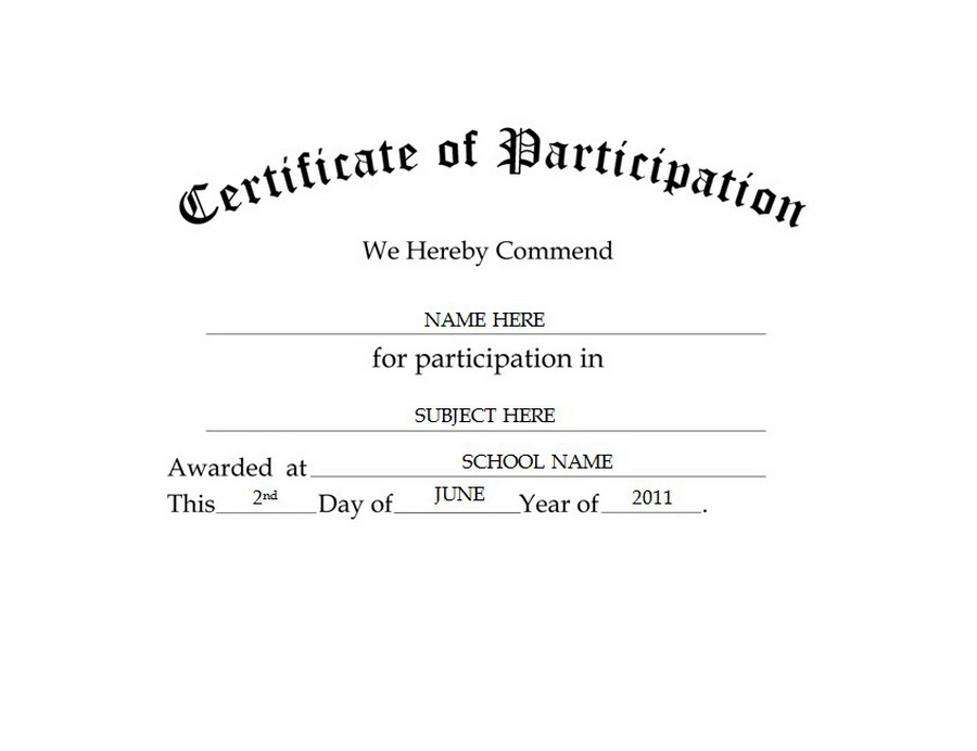 certificate of participation free templates clip art wording