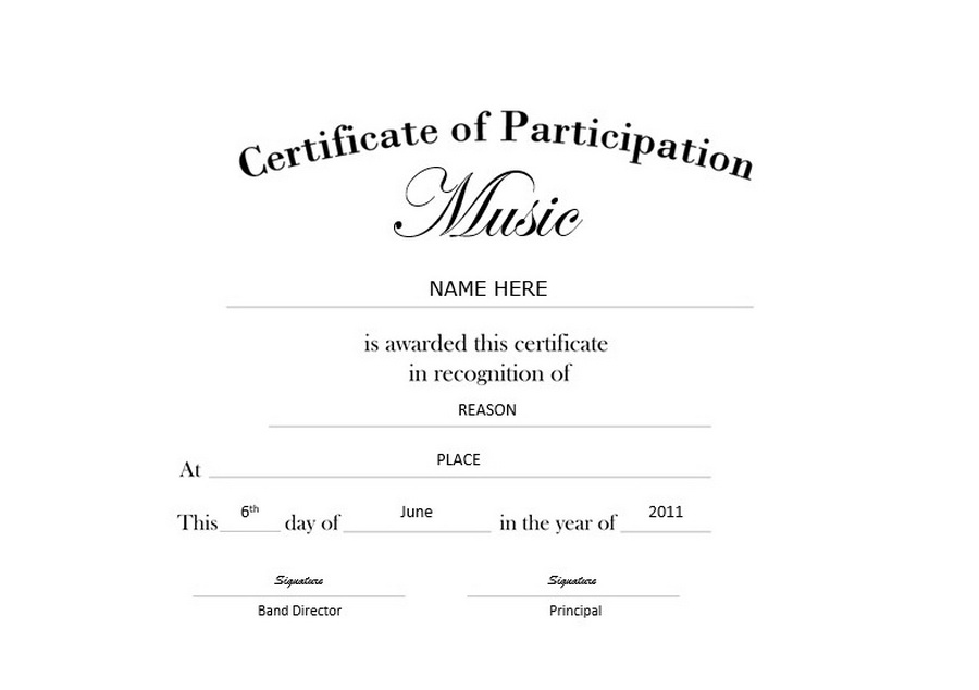 Certificate Of Participation Template Free Certificate Of Participation Landscape Free Templates Clip Art Wording